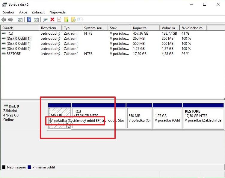 Správa disků - systémový disk - rozlišení System Reserved od Systémový oddíl EFI (Zdroj: Windows 10)