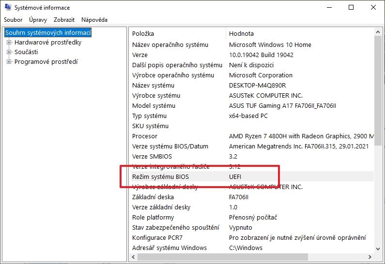 Postupujeme WIN + R - msinfo32 - Režim systému BIOS (Zdroj: Windows 10)