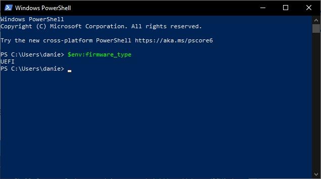 Windows PowerShell - příkaz $env:firmware_type (Zdroj: Windows 10)