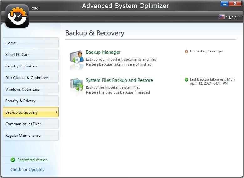 Zálohování a obnovy jsou další z nástrojů Advanced System Optimizeru (Zdroj: Advanced System Optimizer)