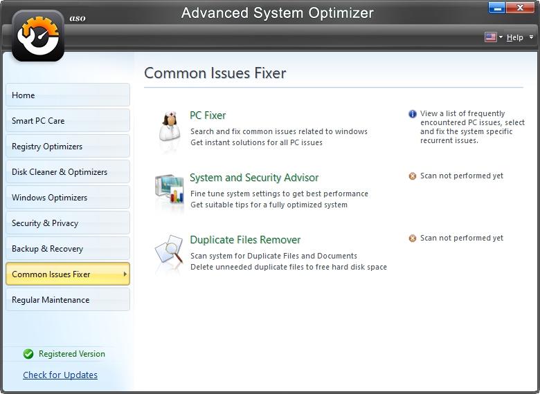 Advanced System Optimizer myslí i na pomoc s častými problémy uživatelů Windows (Zdroj: Advanced System Optimizer)