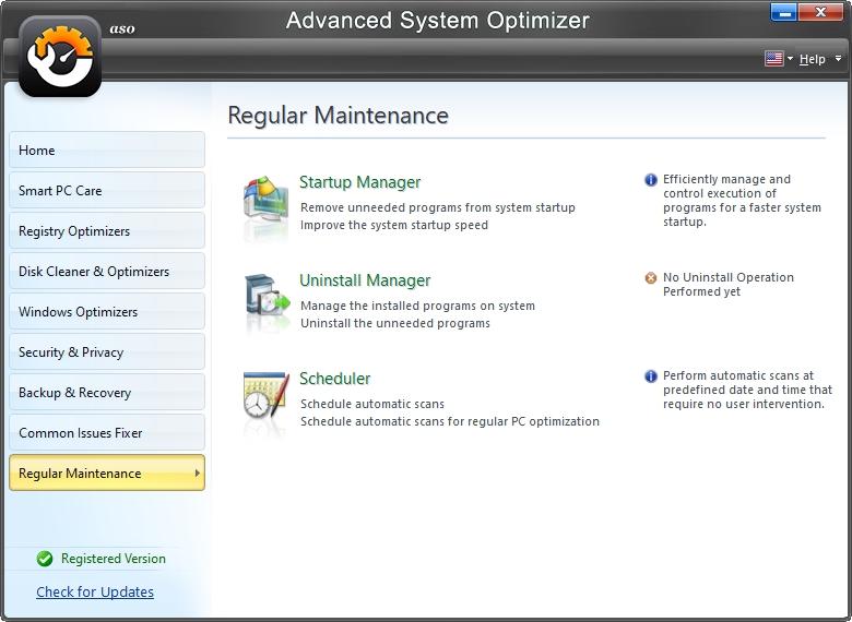 Běžná údržba myslí na programy spouštěné při startu, odinstalaci a plánování úkonů aplikace (Zdroj: Advanced System Optimizer)