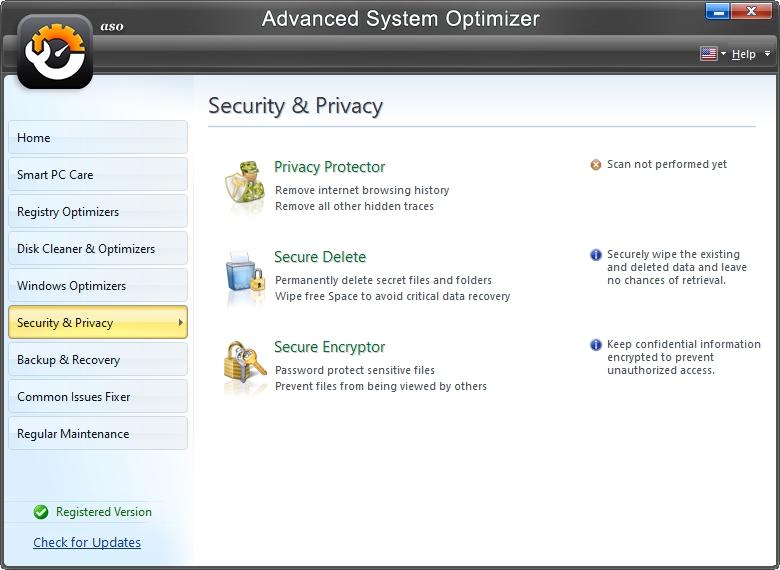 Zabezpečení a soukromí se soustřeďuje na mazání stop (Zdroj: Advanced System Optimizer)
