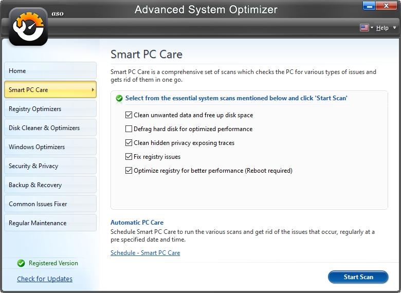 Smart PC Care je souhrnem několika nástrojů (Zdroj: Advanced System Optimizer)