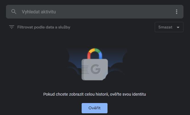 Jakýkoliv další přístup k aktivitám na stránce Moje aktivity na Googlu pak vyžaduje ověření heslem (Zdroj: Google.com)