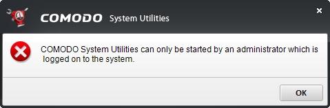 Nejprve se zdá, že Comodo System Utilities jen vyžaduje administrátorská oprávnění (Zdroj: Comodo System Utilities)