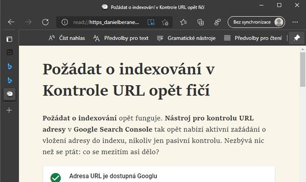 Web automaticky otevřený v asistivní čtečce Microsoft Edge (Zdroj: danielberanek.cz)