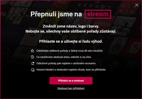 Aktuální hláška o přesunu televizeseznam.cz na Stream.cz (Zdroj: televizeseznam.cz či Stream.cz)
