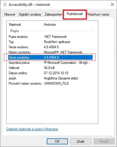 Na Accessibility.dll otevřete kontextové menu - Vlastnosti - Podrobnosti - Verze produktu (Zdroj: Windows 10)