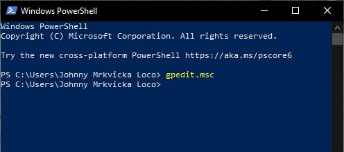 Spustíme Windows PowerShell; zadáme příkaz gpedit.msc. (Zdroj: Windows)