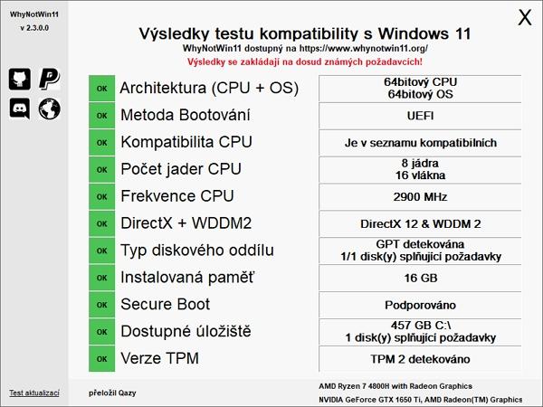 Výsledku testu kompatibility zařízení s Windows 11 v nástroji WhyNotWin11 (Zdroj: WhyNotWin11)