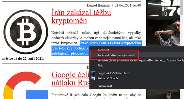 Zvýrazněte text levým myšítkem - přes pravé myšítko a kontextové menu zvolte Kopírovat odkaz na zvýraznění (Zdroj: Google Chrome)