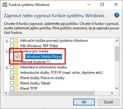 Otevřete rozhraní Funkce systému Windows - Funkce pro média - Windows Media Player - odškrtněte - potvrďte varování - a potvrďte OK (Zdroj: Windows)