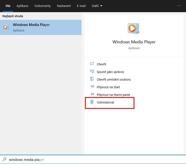 V nástroji Hledat vyhledejte Windows Media Player - zvolte Odinstalovat (Zdroj: Windows)