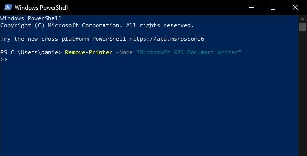 Spustíme Windows PowerShell; zadáme příkaz printui.exe /dl /n Microsoft XPS Document Writer (Zdroj: Windows)