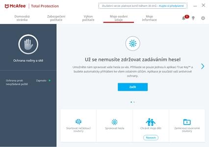 I ochrana osobních údajů si našla místo v aplikačním balíku (Zdroj: McAfee Total Protection)