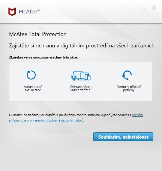 Instalaci stačí jen odsouhlasit (Zdroj: McAfee Total Protection)