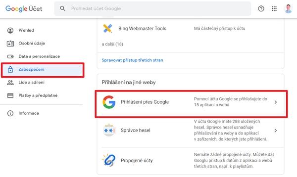 Na účtu Google přejdeme na Zabezpečení - Přihlášení přes Google (Zdroj: Google.com)