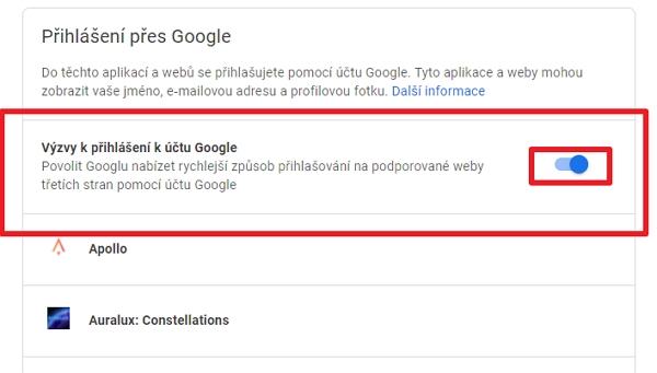 Pokračujeme k sekci Přihlášení přes Google a vypneme Výzvy k přihlášení k účtu Google (Zdroj: Google.com)