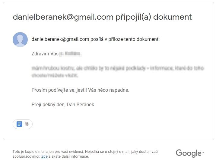 Podoba emailu připoslaného sobě samému (Zdroj: Gmail)