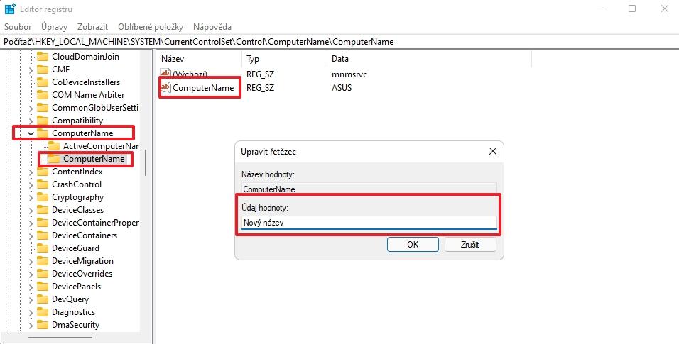 Na klíči HKEY_LOCAL_MACHINE\SYSTEM\CurrentControlSet\Control\ComputerName\ComputerName změníme zadáme v řetězci ComputerName nové jméno počítače, zavřeme Editor registru a restartujeme počítač (Zdroj: Windows 11)