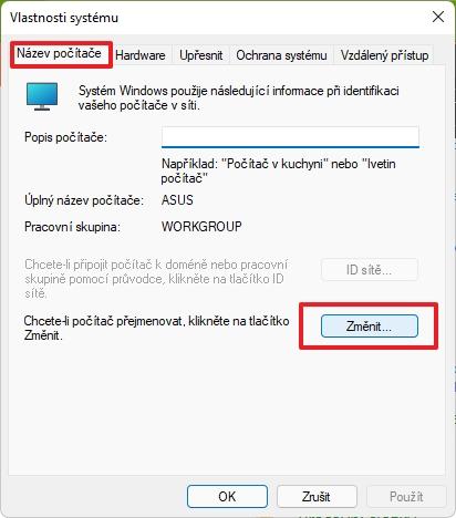 Přepneme se na kartu Název počítače, dáme Změnit, změníme jméno, potvrdíme OK a restartujeme počítač (Zdroj: Windows 11)