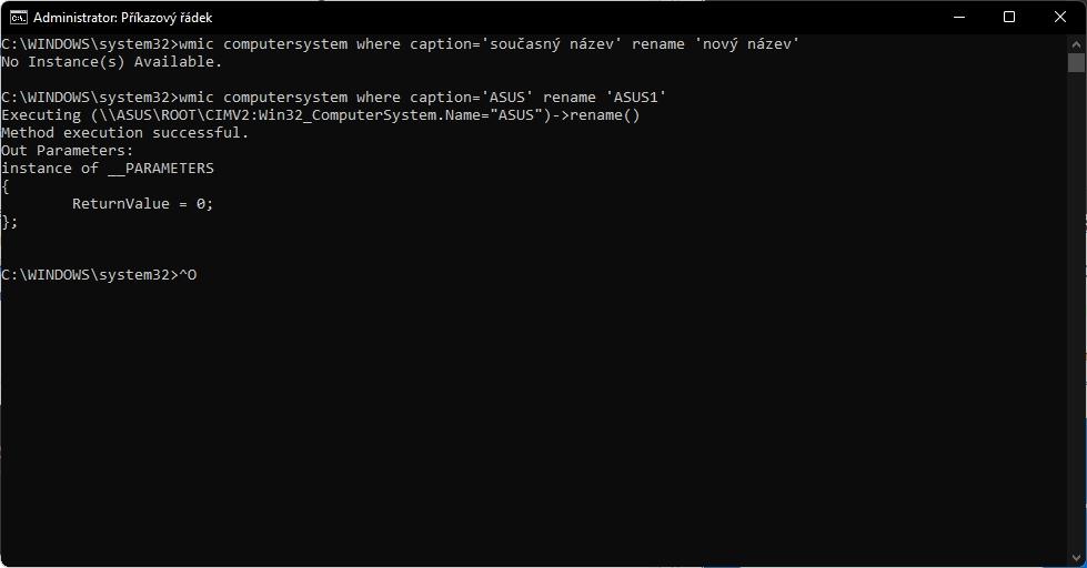 V příkazovém řádku s administrátorskými právy spustíme wmic computersystem where caption=současný název rename nový název a restartujeme počítač (Zdroj: Windows 11)