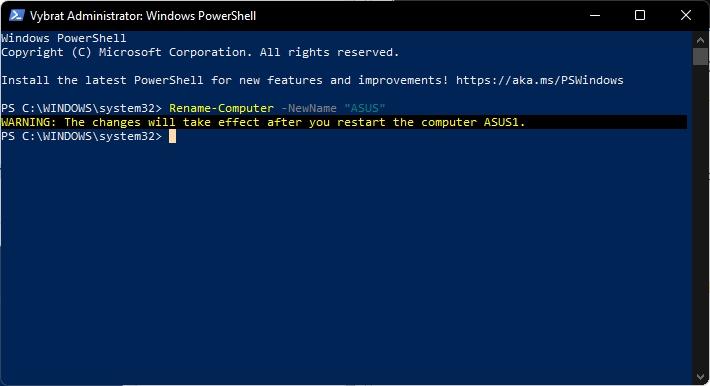 Ve Windows PowerShell s administrátorskými právy zadáme příkaz Rename-Computer -NewName nový název, potvrdíme Enterem a restartujeme počítač (Zdroj: Windows 11)