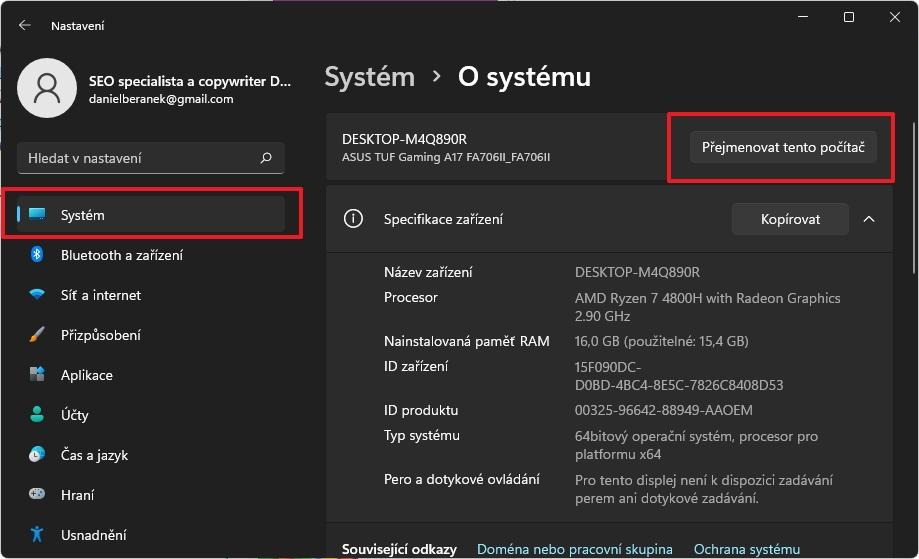 Postupujeme Nastavení - Systém - O systému - Přejmenovat tento počítač (Zdroj: Windows 11)