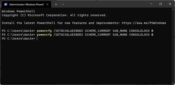 Ve Windows Terminal s administrátorskými právy zadáme příkazy powercfg /SETDCVALUEINDEX SCHEME_CURRENT SUB_NONE CONSOLELOCK 0 a powercfg /SETACVALUEINDEX SCHEME_CURRENT SUB_NONE CONSOLELOCK 0 a restartujeme počítač  (Zdroj: Windows 11)