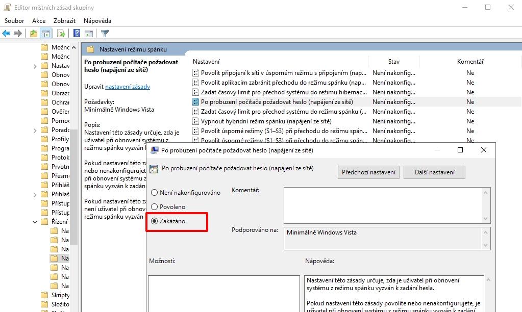 V Editoru místních zásad skupiny postupujeme Konfigurace počítače - Šablony pro správu - Systém - Řízení spotřeby - Nastavení režimu spánku rozklikneme položky Po probuzení počítače požadovat heslo (napájení ze sítě) a Po probuzení počítače požadovat heslo (napájení z baterie), zvolíme Zakázáno, potvrdíme a restartujeme počítač (Zdroj: Windows 11)