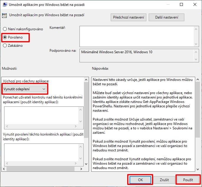 Navigujeme Konfigurace počítače - Šablony pro správu - Součásti systému Windows - Ochrana osobních údajů v aplikaci - otevřeme Umožnit aplikacím pro Windows běžet na pozadí - zvolíme Povoleno a vzápětí zvolíme Vynutit odepření v části Výchozí pro všechny aplikace (Zdroj: Windows 11)