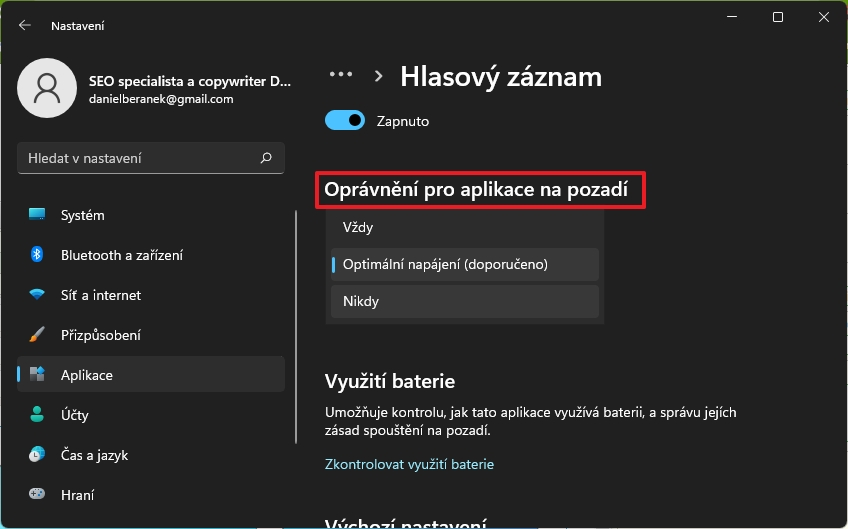 Pokračujte k menu v sekci Oprávnění pro aplikace na pozadí a zvolte Nikdy (Zdroj: Windows 11)