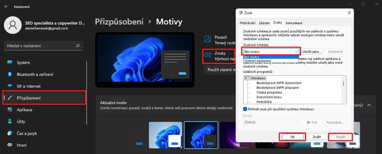Postupujeme Nastavení - Přizpůsobení - Motivy - Zvuky - vybereme Zvukové schéma Bez zvuku (Zdroj: Windows 11)