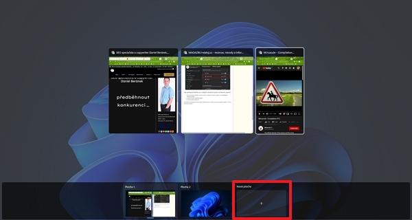 Otevřeme rozhraní nástroje Zobrazení úkolů a odklikneme sekci Nová plocha (Zdroj: Windows 11)