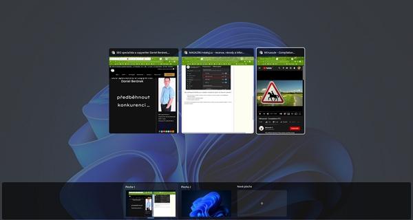 Základním pomocníkem pro práci s virtuálními plochami je ikonka Zobrazení úkolů na hlavním panelu či klávesová zkratka WIN + TAB (Zdroj: Windows 11)