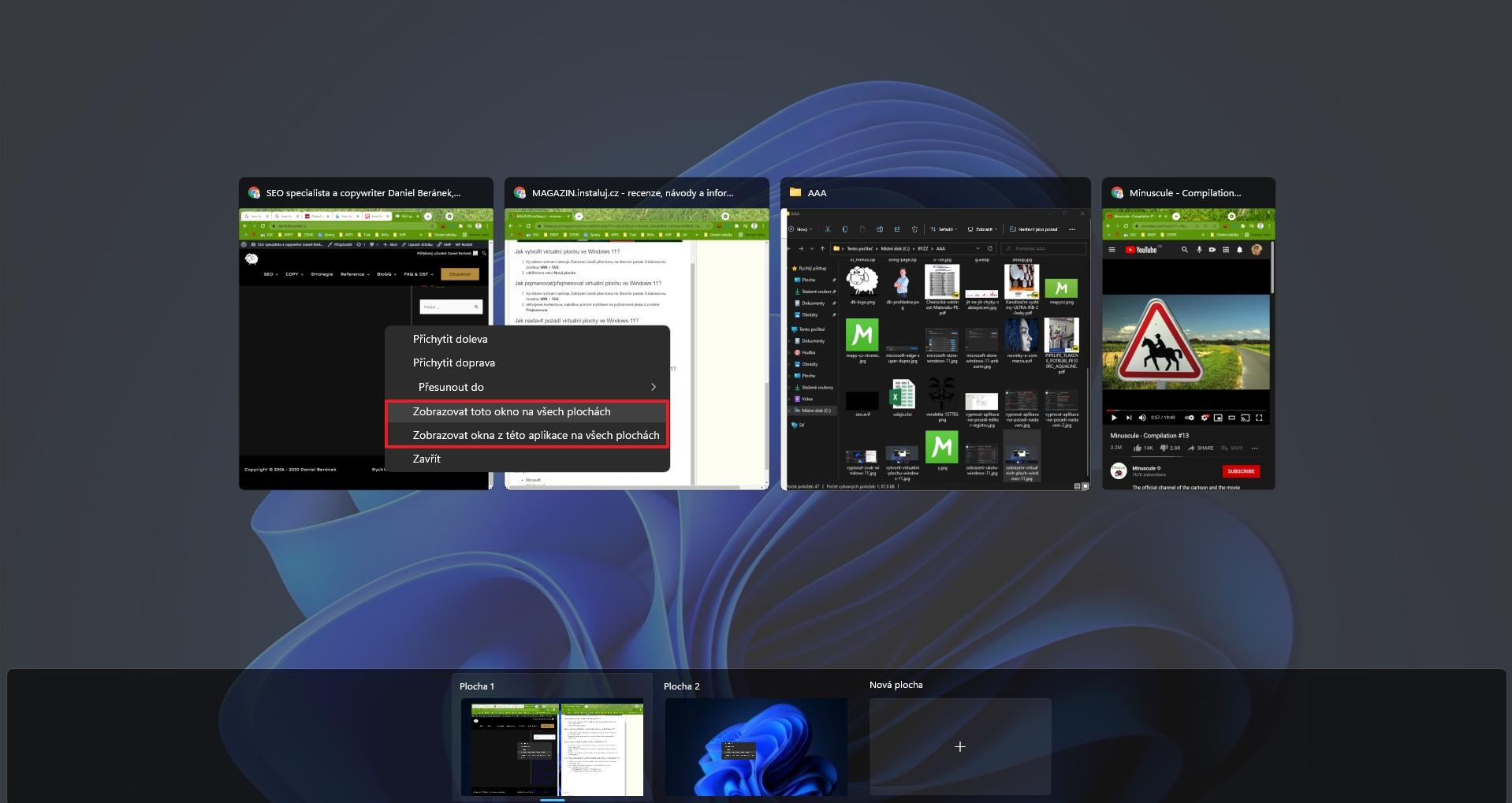 Otevřeme rozhraní nástroje Zobrazení úkolů a na okně požadované aplikace vybereme z kontextového menu buď Zobrazovat toto okno na všech plochách nebo Zobrazovat okna z této aplikace  na všech plochách (Zdroj: Windows 11) (Zdroj: Windows 11)