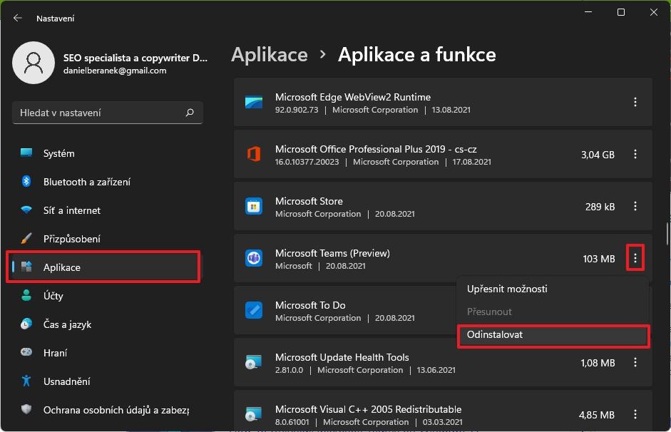 Navigujeme Nastavení - Aplikace - Aplikace a funkce - Microsoft Teams a dáme Odinstalovat (Zdroj: Windows 11)