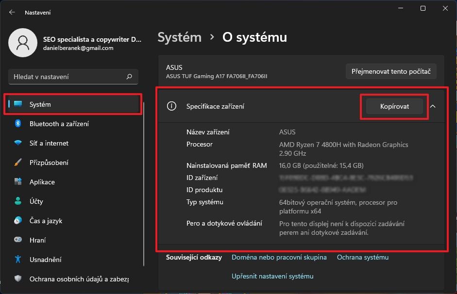 Postupujeme Nastavení - Systém - O systému a rozklikneme položku Specifikace zařízení (Zdroj: Windows 11)