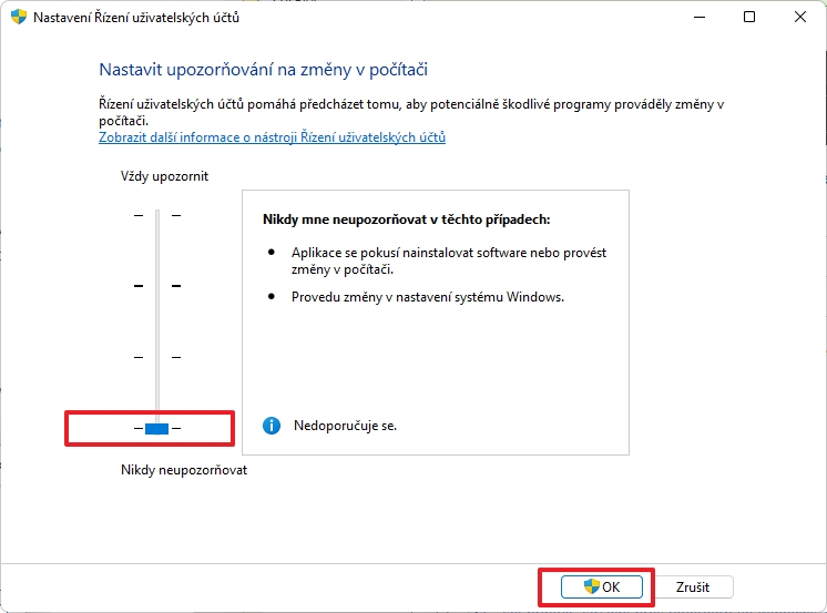 V dialogovém okně v sekci Nastavit upozorňování na změny v počítači přepneme posuvník do zcela dolní polohy Nikdy mne neupozorňovat (Zdroj: Windows 11)