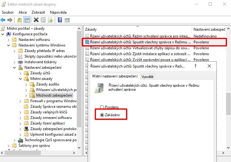 Navigujeme Editor místních zásad skupiny - Konfigurace počítače - Nastavení systému Windows - Nastavení zabezpečení - Místní zásady - Možnosti zabezpečení - Řízení uživatelských účtů: Spustit všechny správce v Režimu schválení správce - zvolíme Zakázáno a potvrdíme Použít a OK (Zdroj: Windows 11)