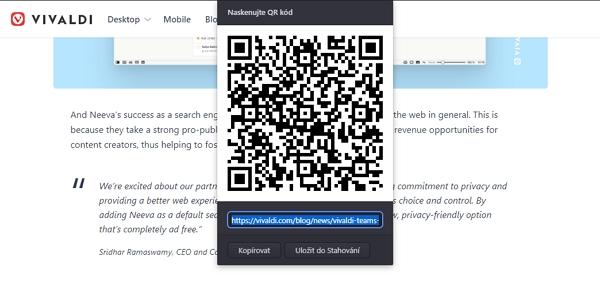 QR kód se přizpůsobí úpravám URL adresy, kterou zastupuje (Zdroj: Vivaldi)