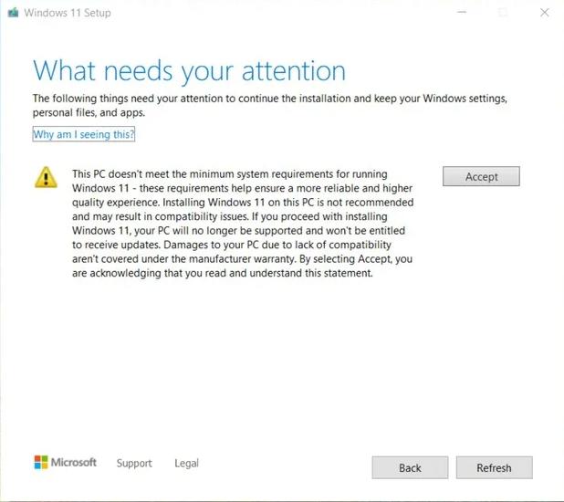 Varování před instalací Windows 11 na nepodporovaný hardware (Zdroj: The Verge)