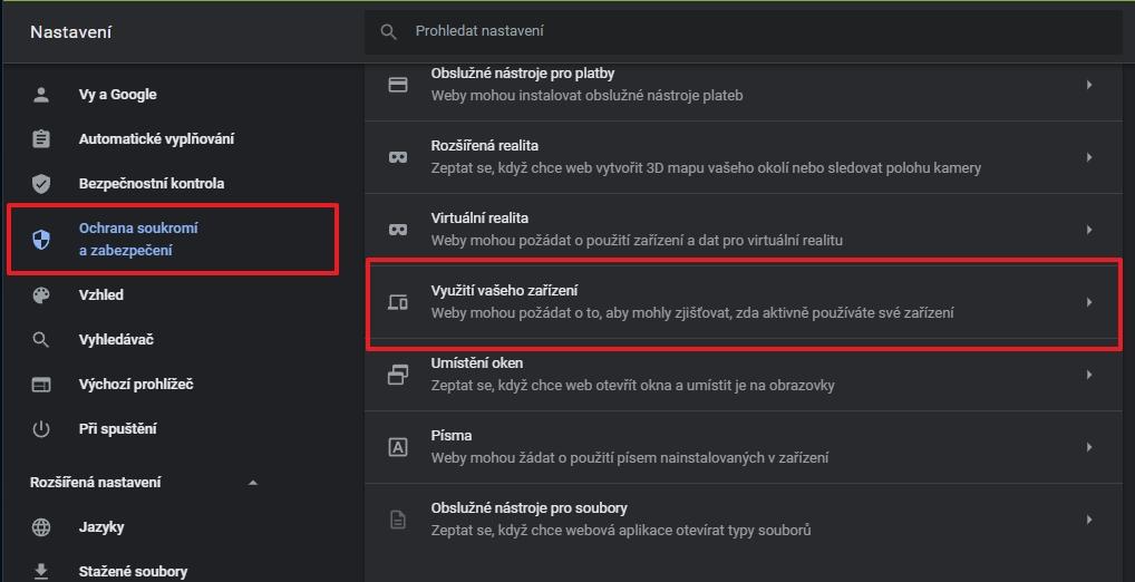 Navigujte Nastavení - Ochrana soukromí a zabezpečení - Nastavení webu - Oprávnění - Další oprávnění - Využití vašeho zařízení Výchozí chování (Zdroj: Google Chrome)