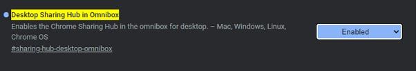 Otevřete chrome://flags - vyhledejte Desktop Sharing Hub in Omnibox - zvolte Enabled a restartujte prohlížeč (Zdroj: Google Chrome)