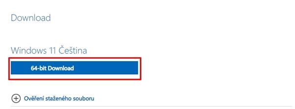 Na webu Microsoftu zamiřte do sekce Stažení bitové kopie disku systému Windows 11 (ISO) - vyberte Windows 11 - vyberte jazyk a verzi - a uložte ISO do požadovaného umístění (Zdroj: Microsoft)
