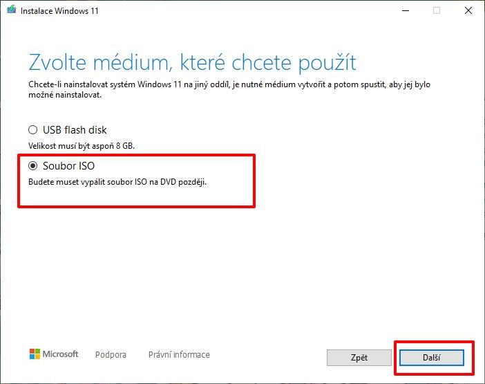 Na webu Microsoftu zamiřte do sekce Vytvoření instalačního média pro Windows 11 - stáhněte MediaCreationToolW11.exe - spusťte - vyberte jazyk a edici - stáhněte ISO soubor (Zdroj: Microsoft)