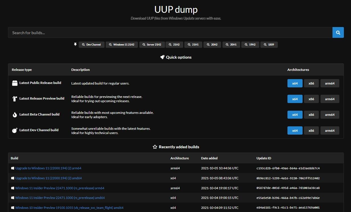 Na webu UUPdump.net vyberte požadovaný kanál ISO obrazu Windows 11 a proklikejte se volbami až ke stažení celého balíčku (Zdroj: UUPdump.net)