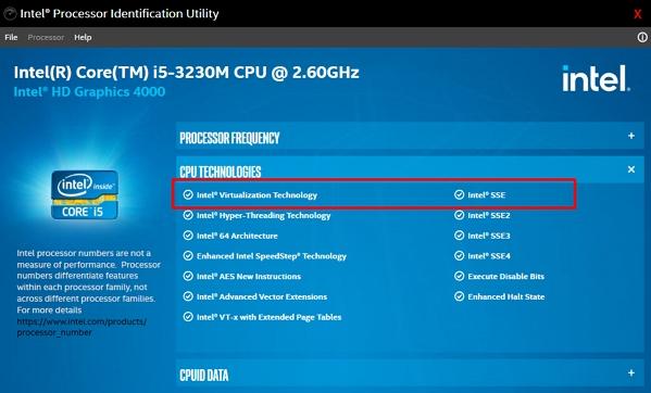 Spusťte program Intel® Processor Identification Utility - přejděte na CPU Technologies a zkontrolujte položku Intel® Virtualization Technology (Zdroj: Intel)