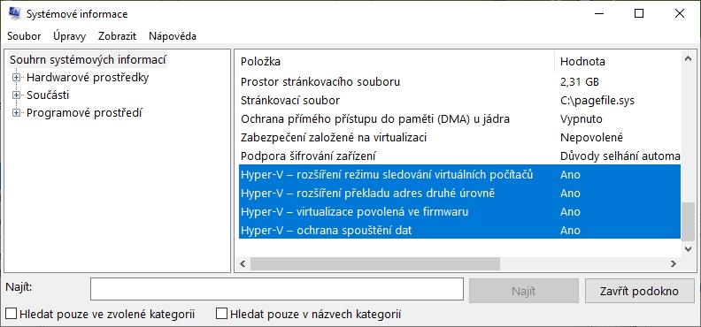 V nástroji Systémové informace postupujeme Souhrn systémových informací - položky Hyper-V (Zdroj: Windows 10)